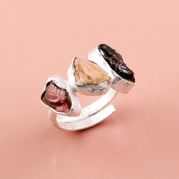 Natural Garnet Citrine Raw Gemstone 925 Sterling Silver Adjustable Ring
