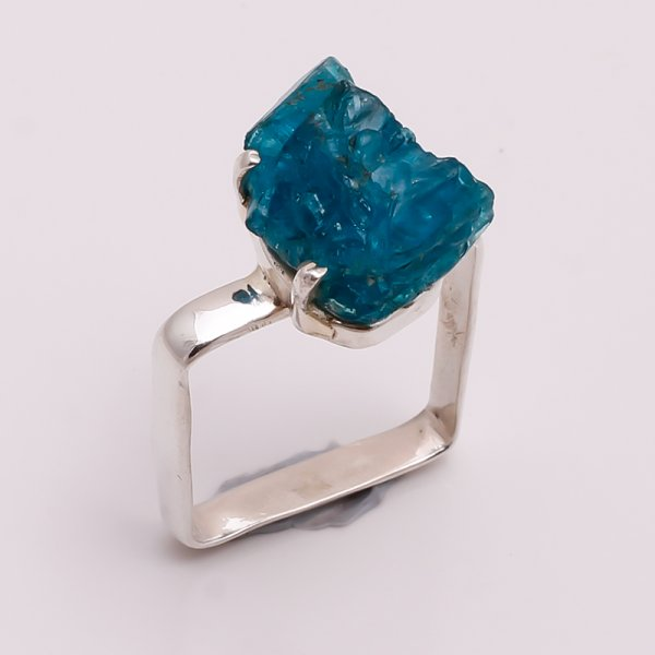 Natural Neon Apatite Raw Gemstone 925 Sterling Silver Ring