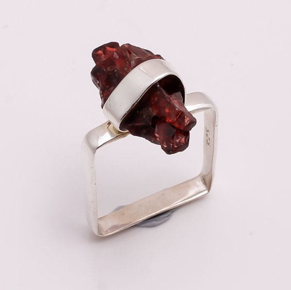 Natural Garnet Raw Gemstone 925 Sterling Silver Ring