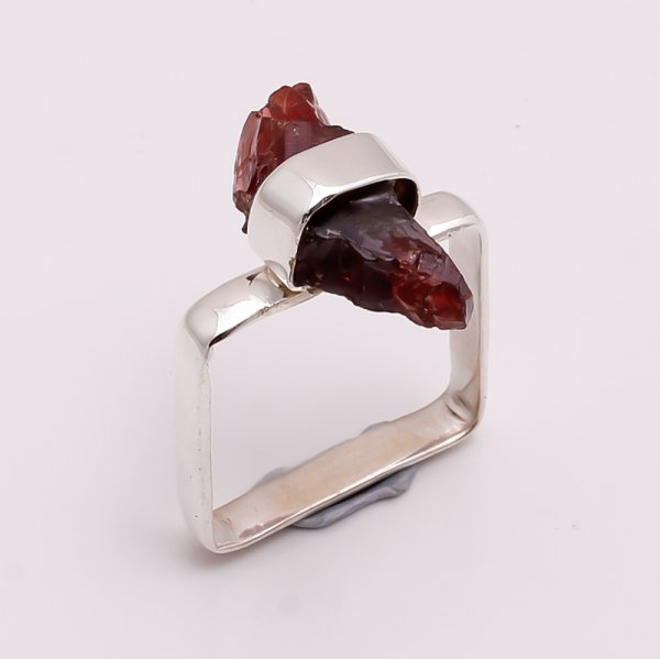 Natural Garnet Raw Gemstone 925 Sterling Silver Ring Size US 7.25