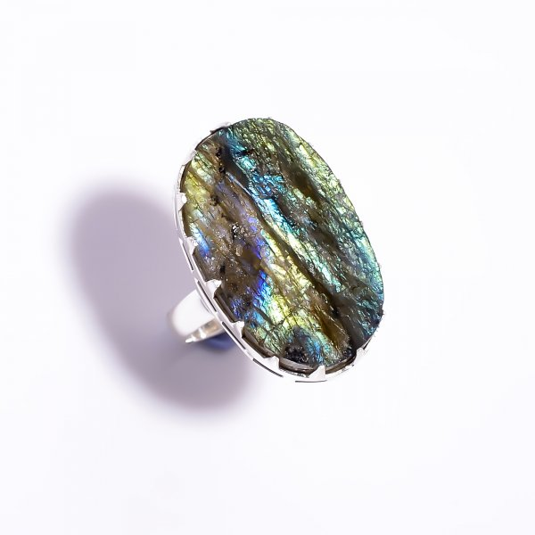 Natural Labradorite Raw Gemstone 925 Sterling Silver Ring Size US 5.75 Adjustable