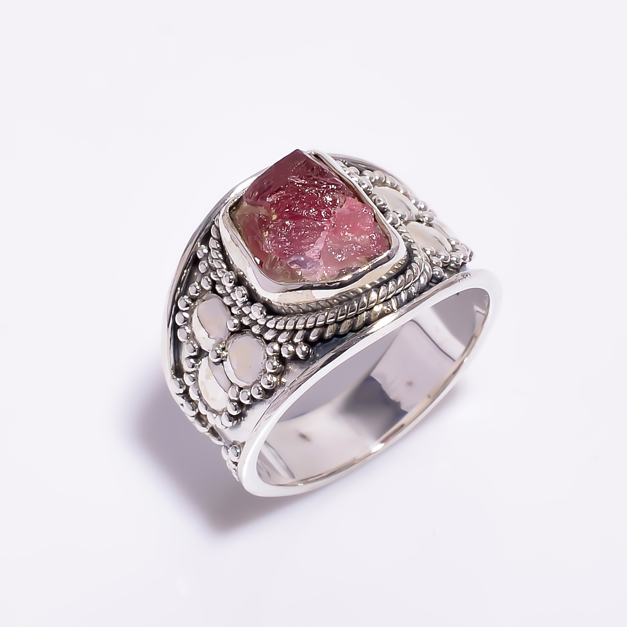 Natural Pink Tourmaline Raw Gemstone 925 Sterling Silver Ring Size US 10