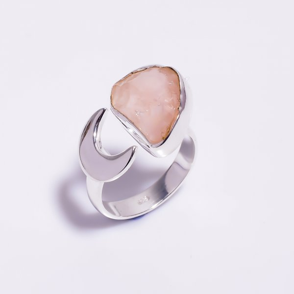 Natural Rose Quartz Raw Gemstone 925 Sterling Silver Ring Size US 6 Adjustable