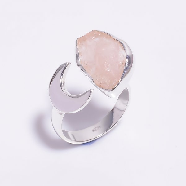 Natural Rose Quartz Raw Gemstone 925 Sterling Silver Ring Size US 6.5 Adjustable