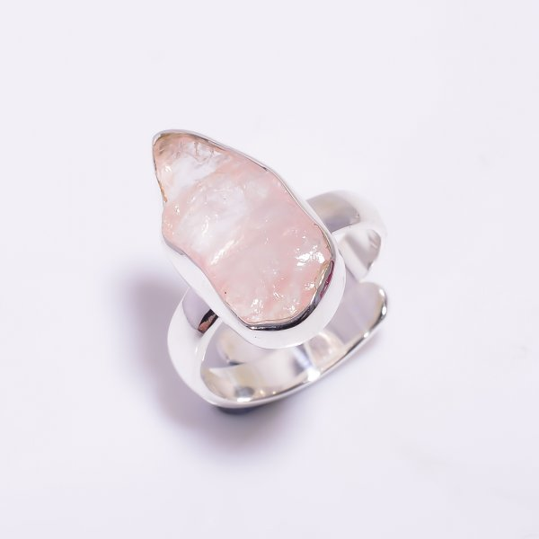 Natural Rose Quartz Raw Gemstone 925 Sterling Silver Ring Size US 5.75 Adjustable