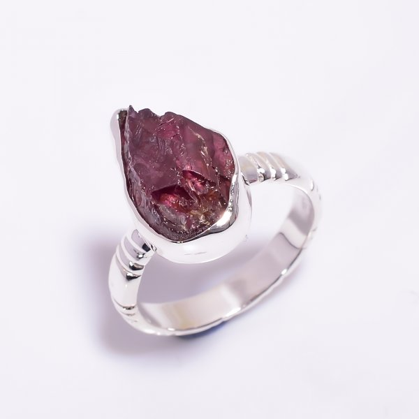 Natural Garnet Raw Gemstone 925 Sterling Silver Ring Size US 8