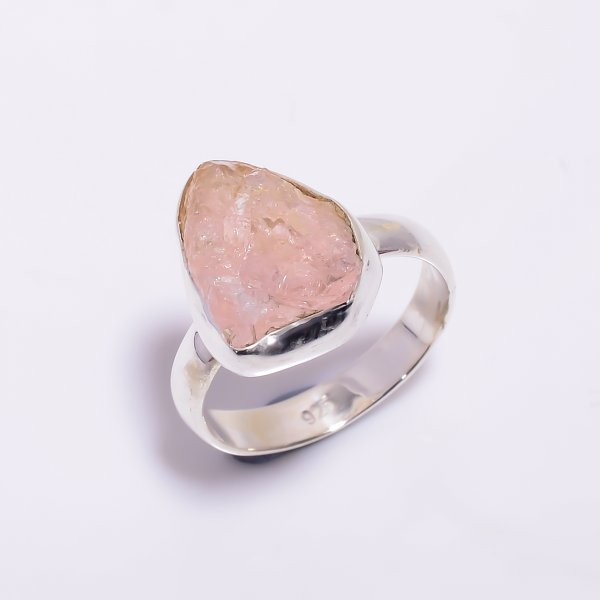 Natural Rose Quartz Raw Gemstone 925 Sterling Silver Ring Size US 6.5