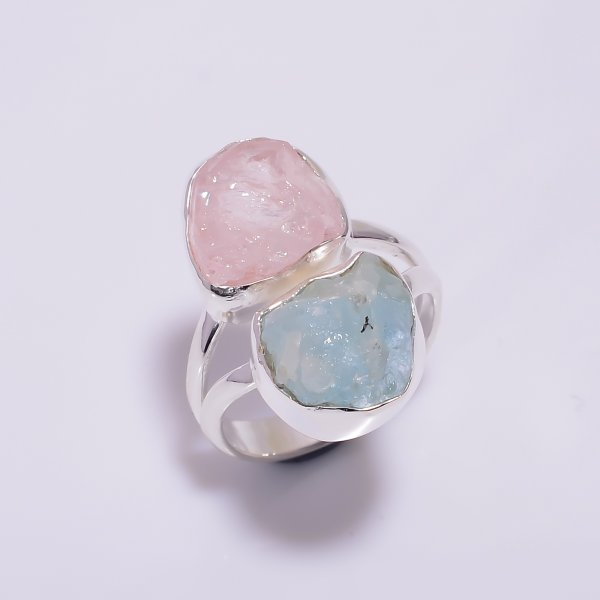 Natural Rose Quartz Aquamarine Raw Gemstone 925 Sterling Silver Ring Size US 5.75