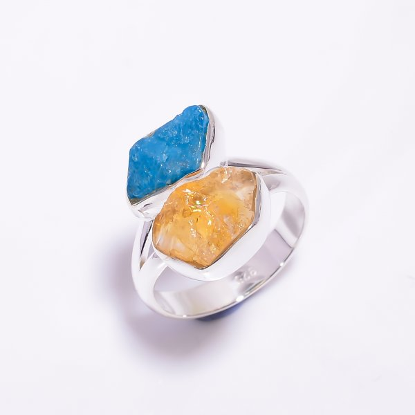 Natural Citrine Neon Apatite Raw Gemstone 925 Sterling Silver Ring Size US 6.75