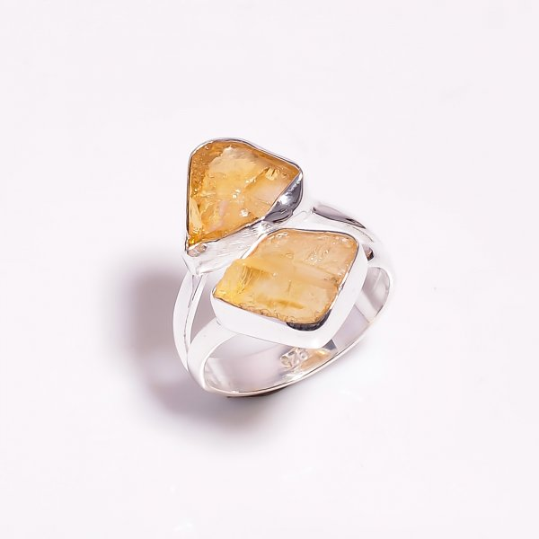 Natural Citrine Raw Gemstone 925 Sterling Silver Ring