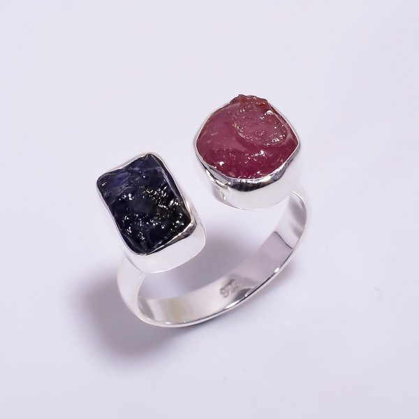 Natural Ruby Sapphire Raw Gemstone 925 Sterling Silver Ring Size US 8.5 Adjustable