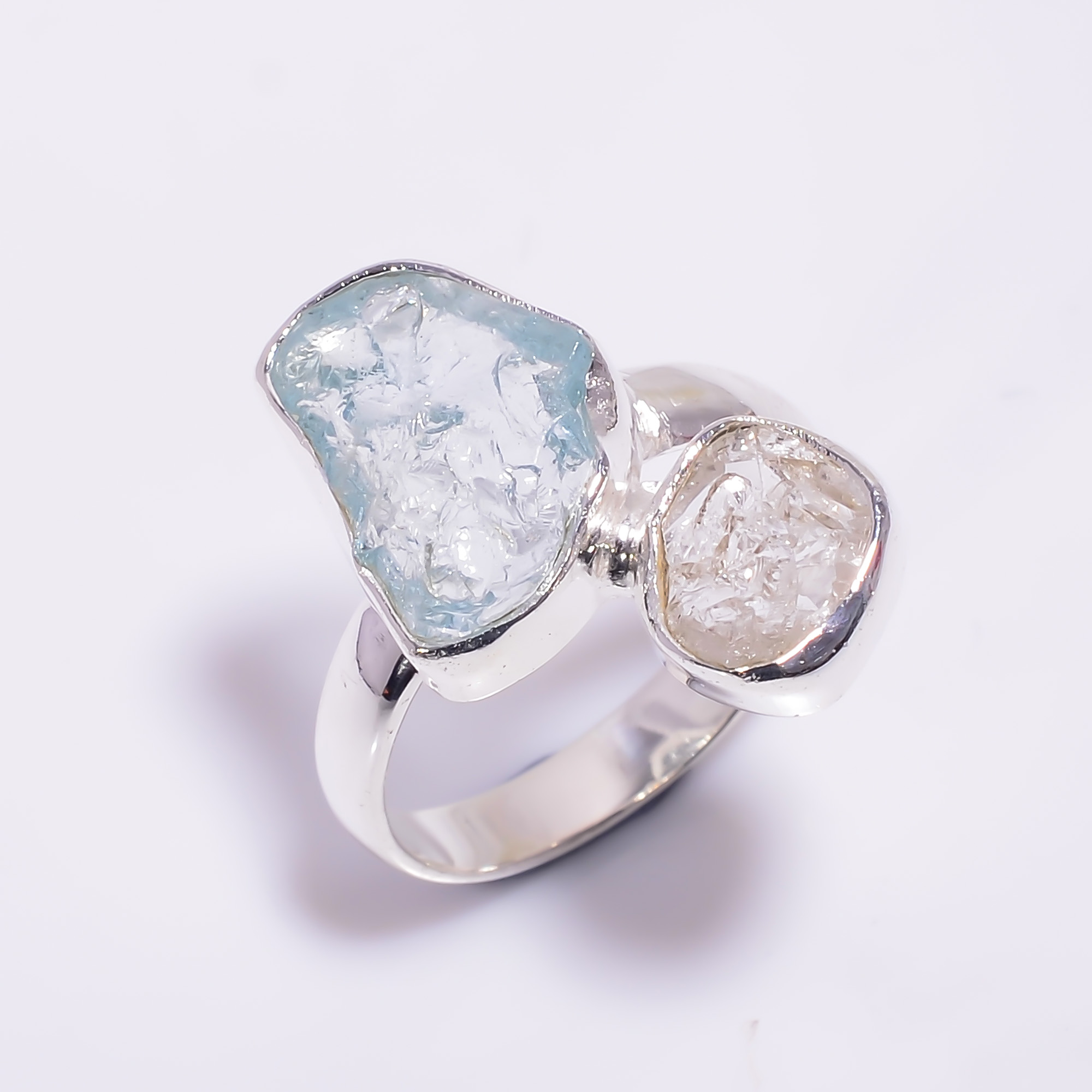 Natural Herkimer Diamond Aquamarine Raw Gemstone 925 Sterling Silver Ring Size US 8.25
