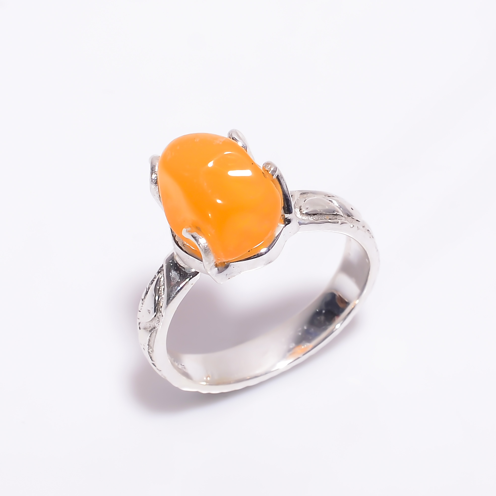 Mexican Opal Raw Gemstone 925 Sterling Silver Ring Size US 7.25