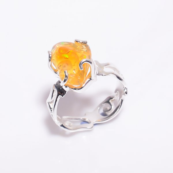 Mexican Fire Opal Raw Gemstone 925 Sterling Silver Ring Size US 7.25