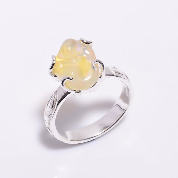Mexican Fire Opal Raw Gemstone 925 Sterling Silver Ring Size US 8