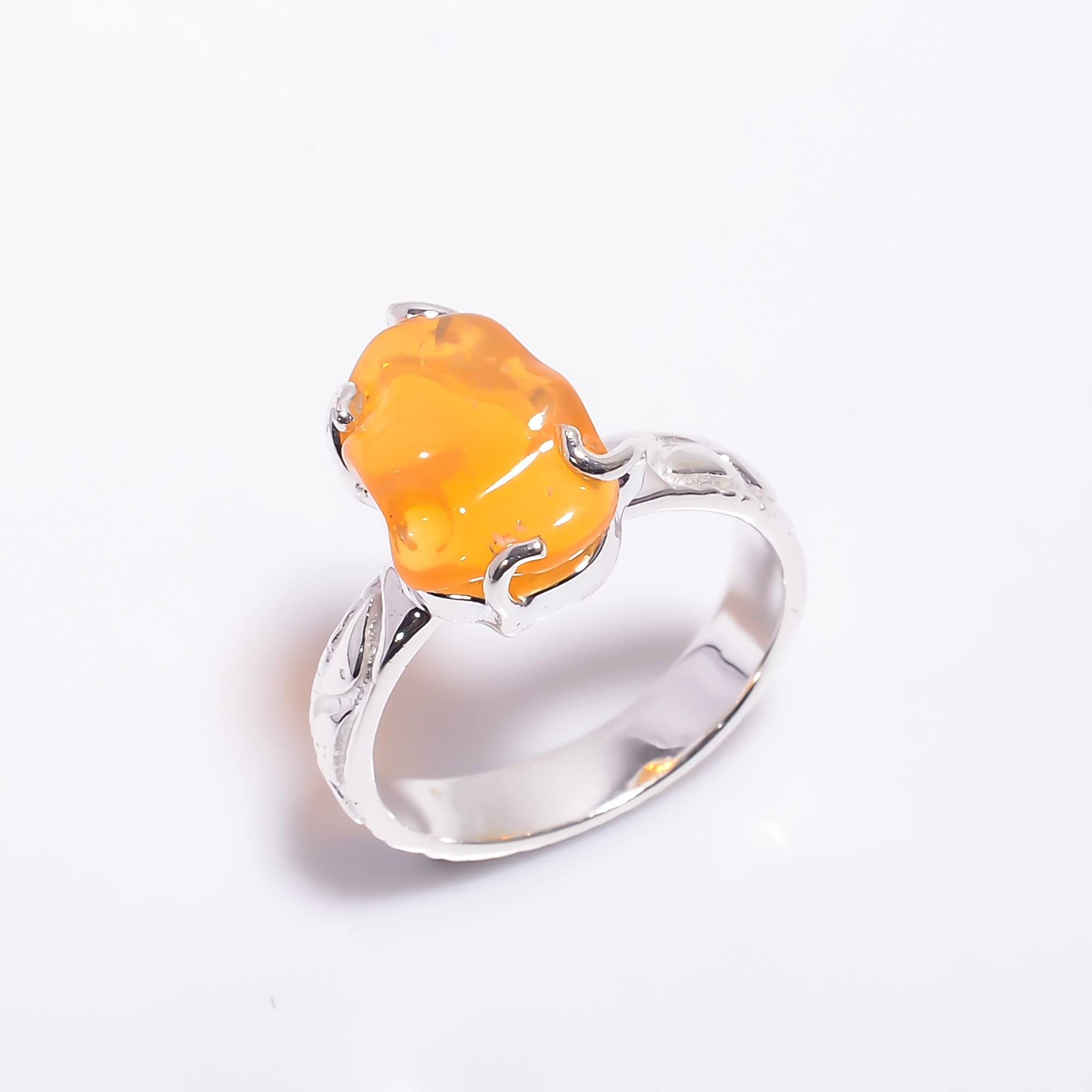 Mexican Opal Raw Gemstone 925 Sterling Silver Ring Size US 7
