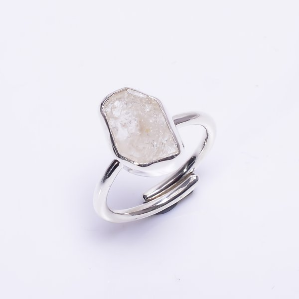 Natural Herkimer Diamond 925 Sterling Silver Ring Size US 6.25 Adjustable