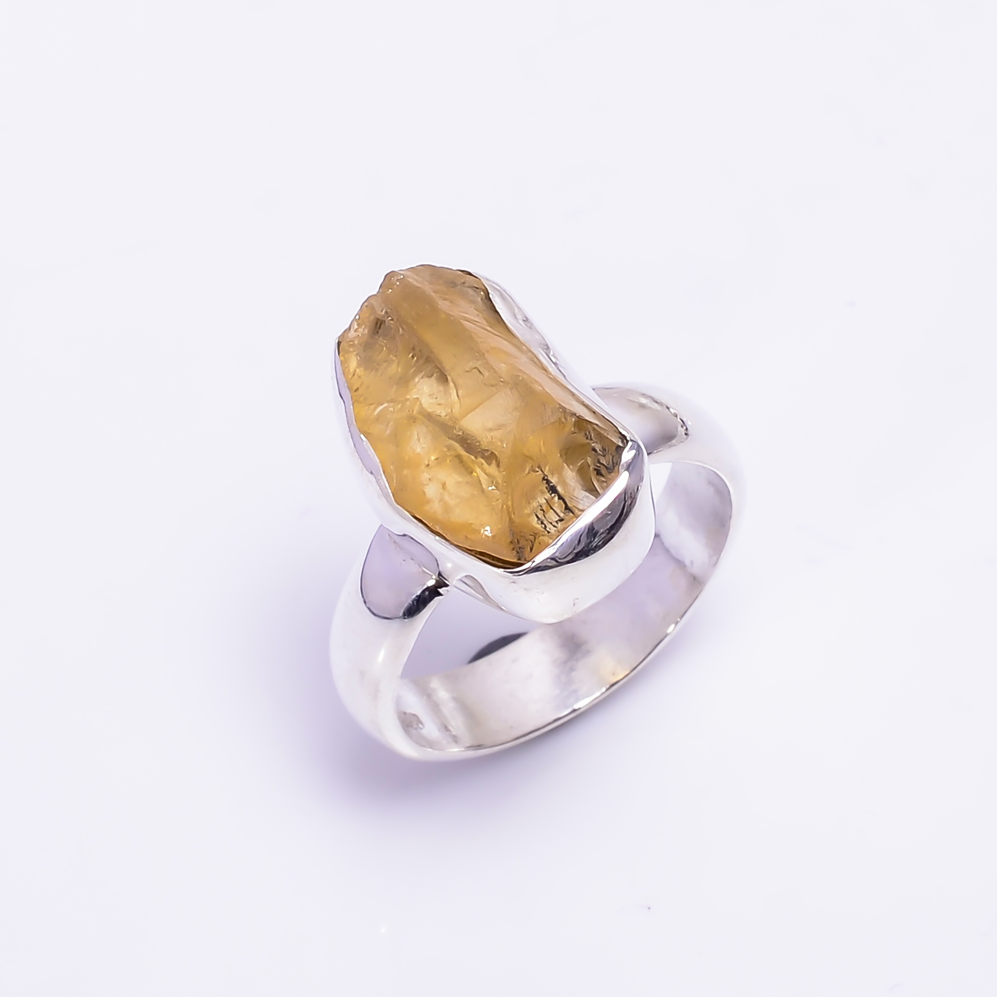 Citrine Raw Gemstone 925 Sterling Silver Ring Size US 5.75