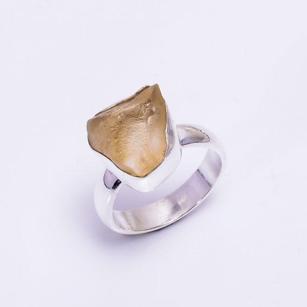 Citrine Raw Gemstone 925 Sterling Silver Ring Size US 6.5