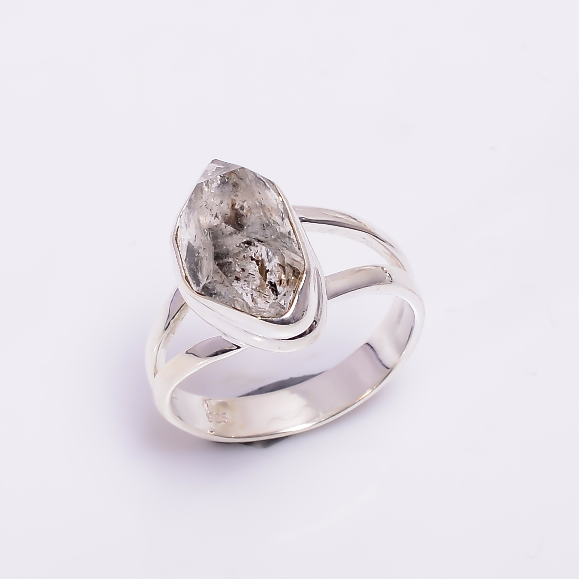 Natural Herkimer Diamond 925 Sterling Silver Ring Size US 5.5