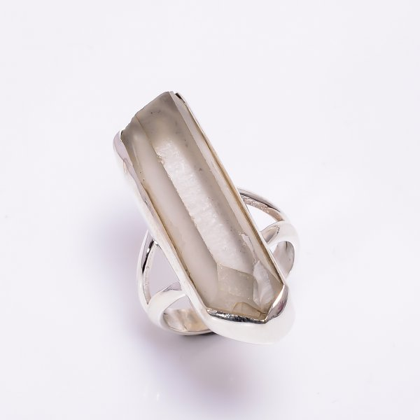 Natural Crystal Raw Gemstone 925 Sterling Silver Ring Size US 6.75