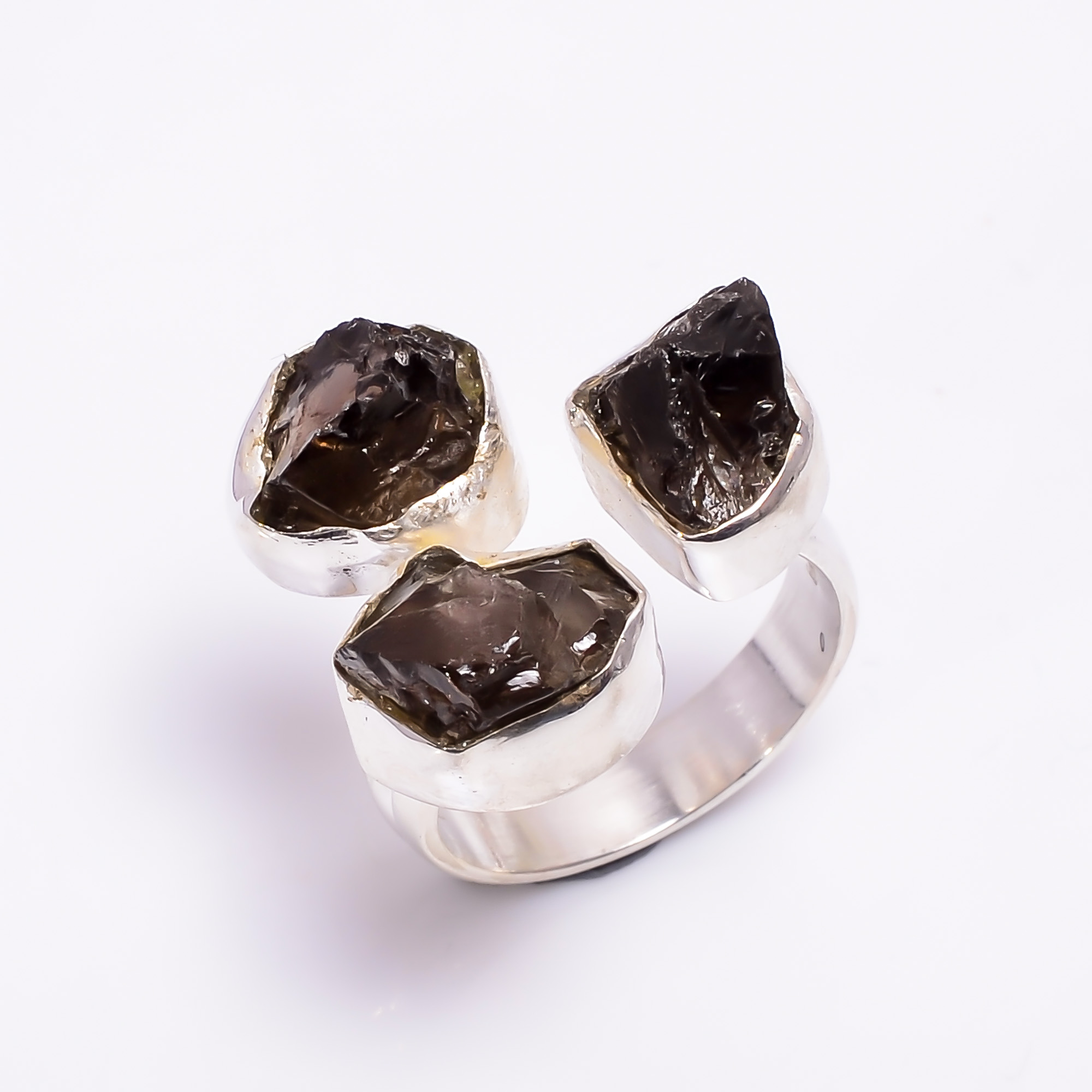 Natural Smoky Raw Gemstone 925 Sterling Silver Adjustable Ring