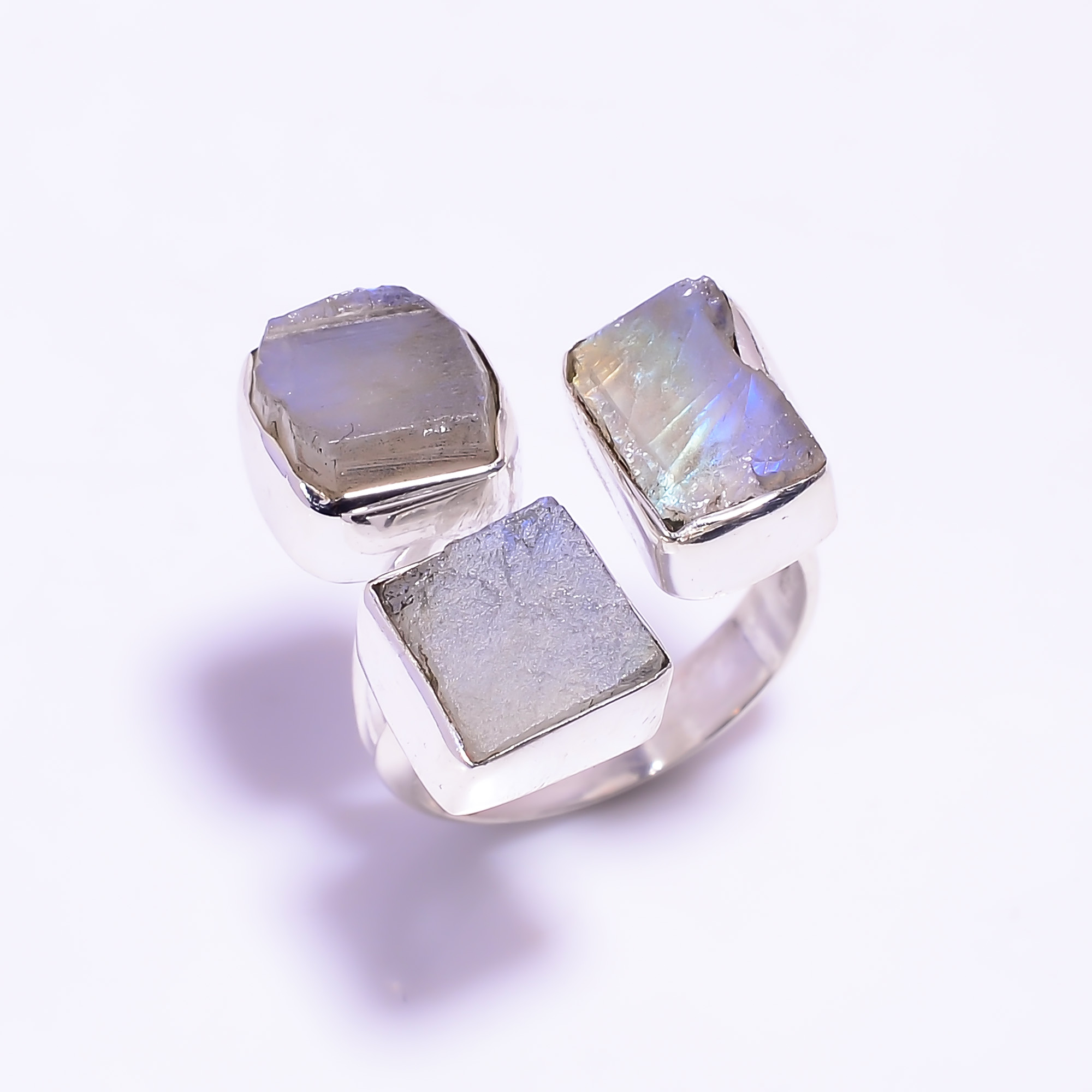 Natural Raw Rainbow Moonstone 925 Sterling Silver Adjustable Ring