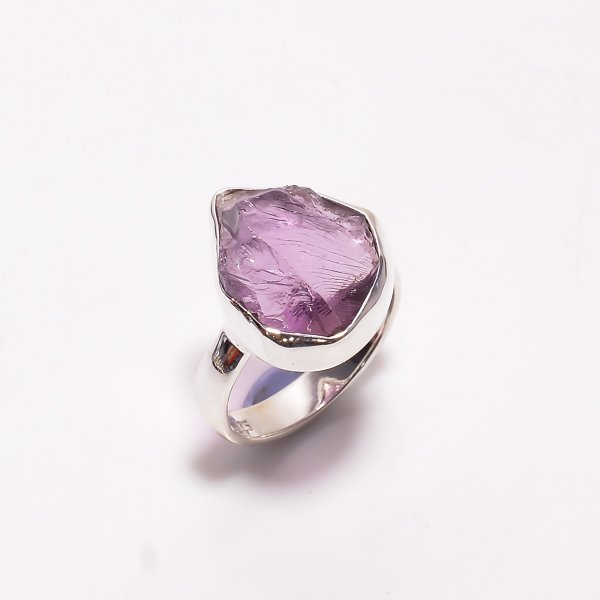 Natural Amethyst Raw Gemstone 925 Sterling Silver Ring Size US 6