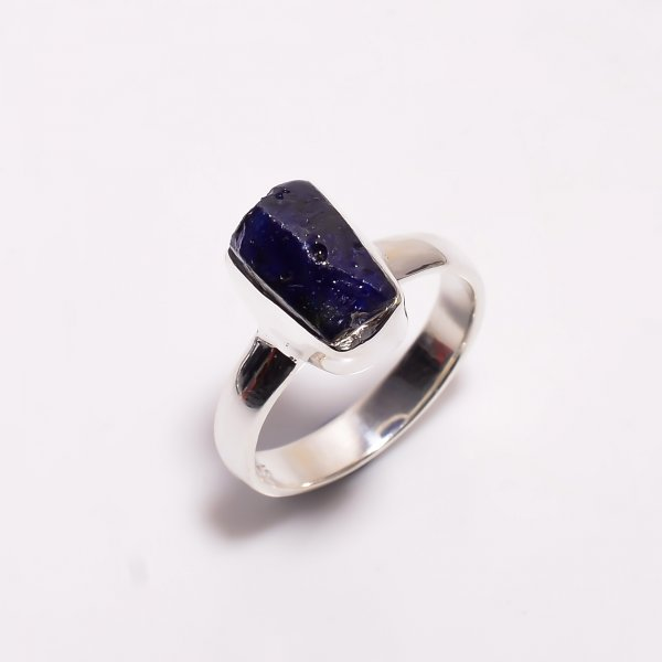 Sapphire Raw Gemstone 925 Sterling Silver Ring Size US 6.5