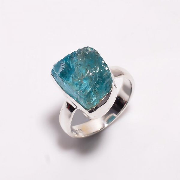 Natural Sky Apatite Raw Gemstone 925 Sterling Silver Ring Size US 5.75