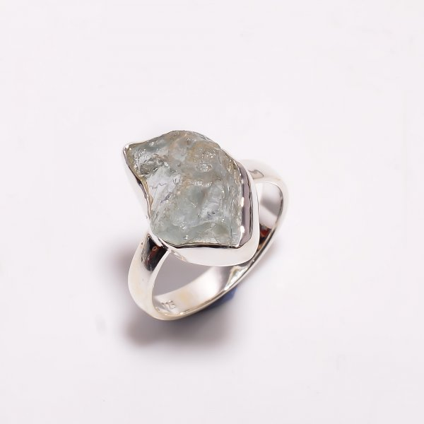 Natural Aquamarine Raw Gemstone 925 Sterling Silver Ring Size US 7.75