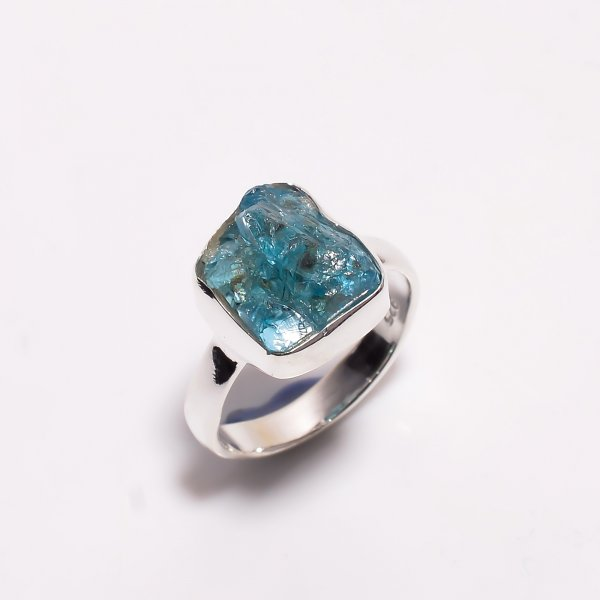Natural Sky Apatite Raw Gemstone 925 Sterling Silver Ring Size US 7.75