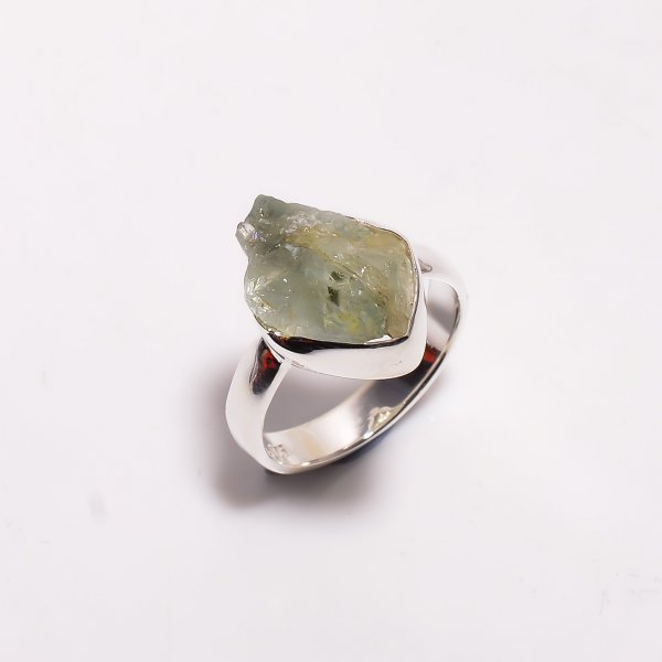 Natural Aquamarine Raw Gemstone 925 Sterling Silver Ring Size US 6