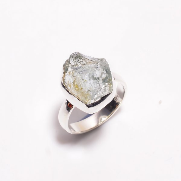 Natural Aquamarine Raw Gemstone 925 Sterling Silver Ring Size US 6.5