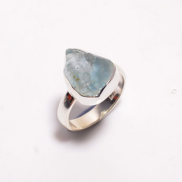 Natural Aquamarine Raw Gemstone 925 Sterling Silver Ring Size US 6.25