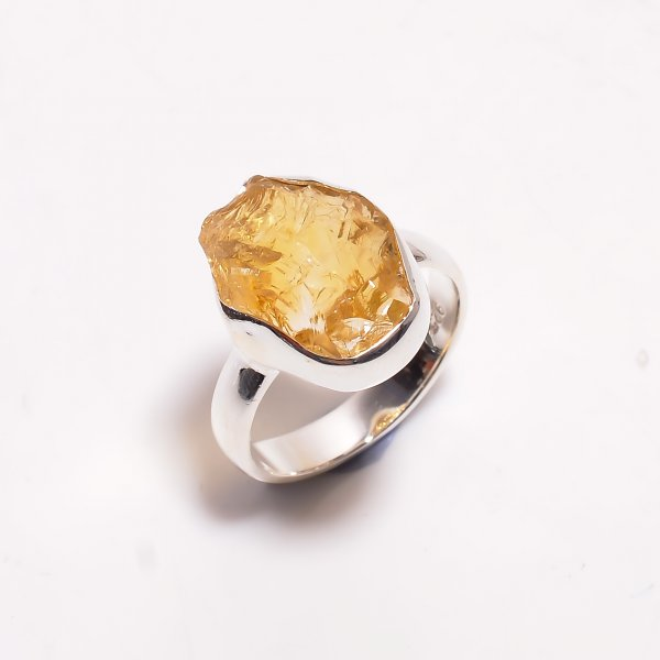 Natural Citrine Raw Gemstone 925 Sterling Silver Ring Size US 6.5