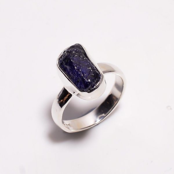 Sapphire Raw Gemstone 925 Sterling Silver Ring Size US 5.75