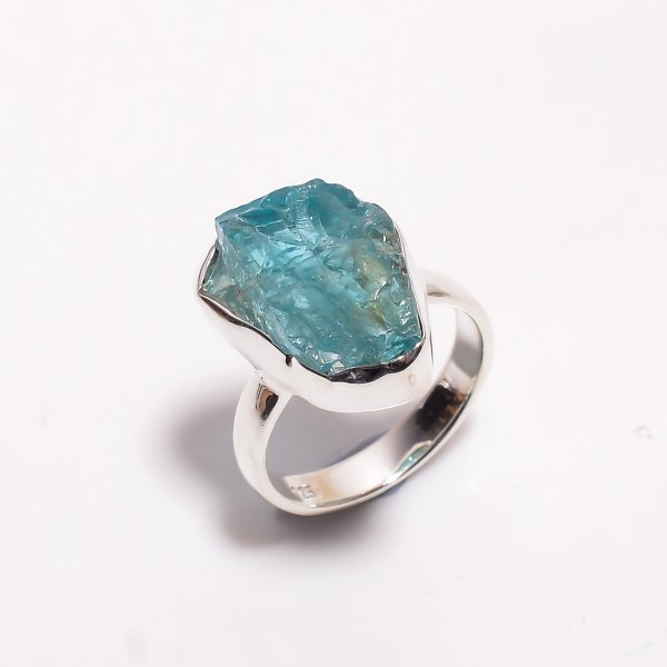 Natural Sky Apatite Raw Gemstone 925 Sterling Silver Ring Size US 6