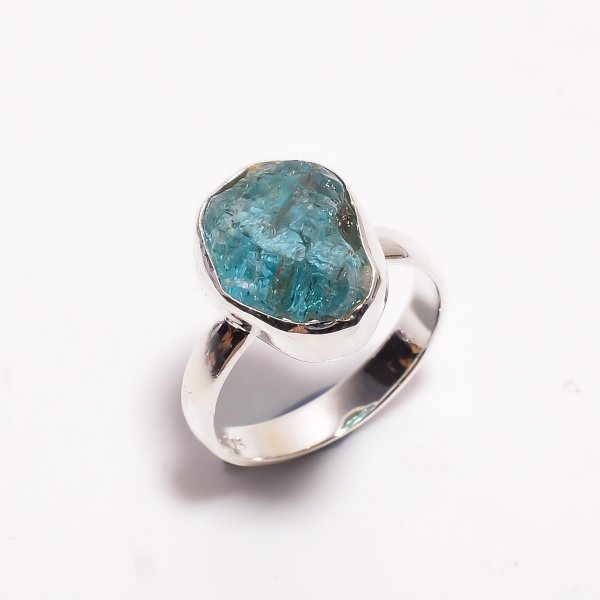 Natural Sky Apatite Raw Gemstone 925 Sterling Silver Ring Size US 7.5