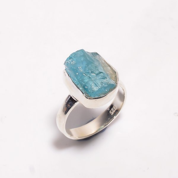 Natural Sky Apatite Raw Gemstone 925 Sterling Silver Ring Size US 6.5