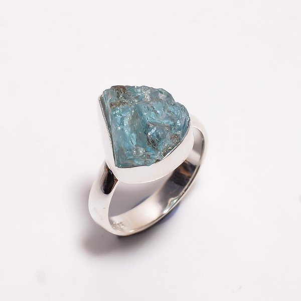 Natural Sky Apatite Raw Gemstone 925 Sterling Silver Ring Size US 6.75