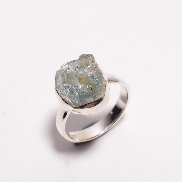 Natural Aquamarine Raw Gemstone 925 Sterling Silver Ring Size US 7.5