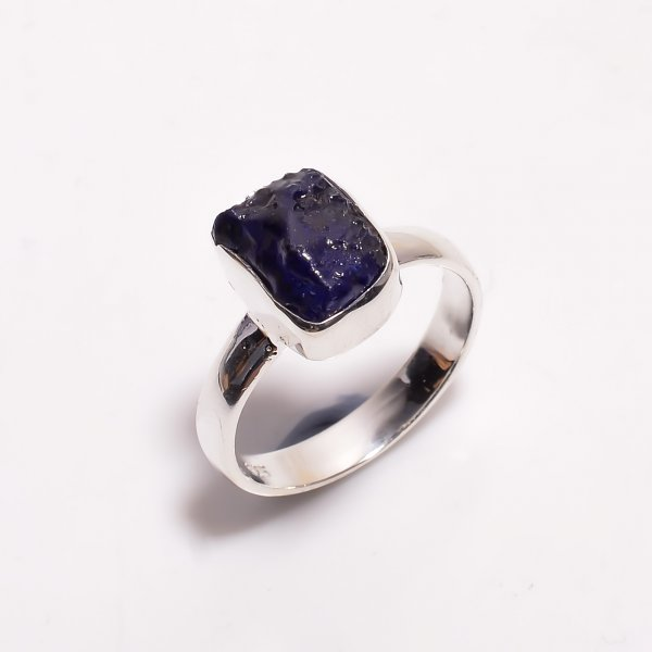 Sapphire Raw Gemstone 925 Sterling Silver Ring Size US 7.75