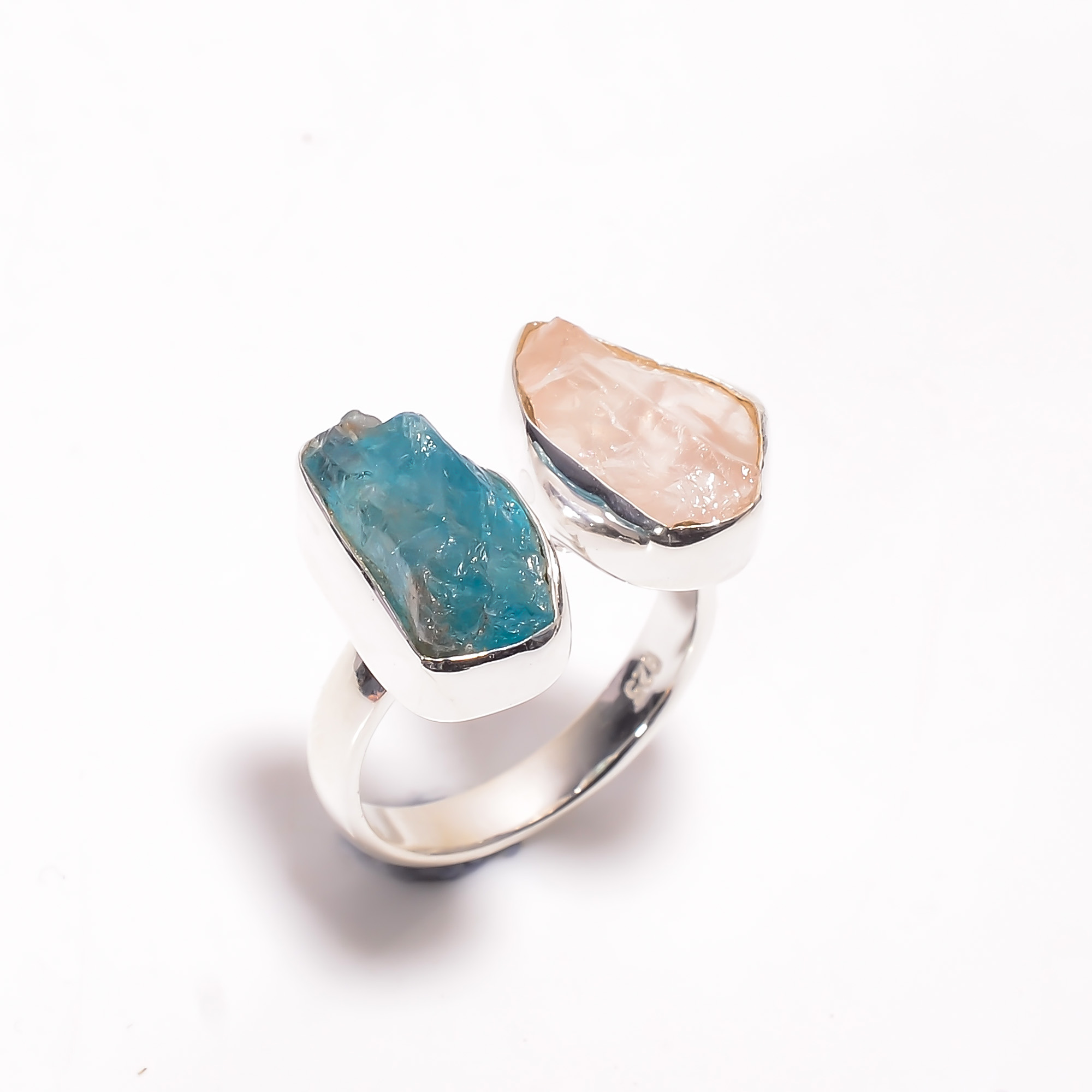 Natural Sky Apatite Rose Quartz Raw Gemstone 925 Sterling Silver Adjustable Ring