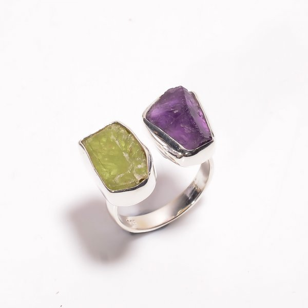 Natural Amethyst Green Kyanite Raw Gemstone 925 Sterling Silver Ring Size US 6.75 Adjustable