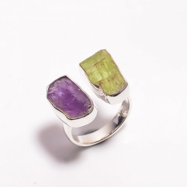 Natural Amethyst Green Kyanite Raw Gemstone 925 Sterling Silver Ring Size US 6.25 Adjustable
