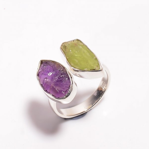 Natural Amethyst Green Kyanite Raw Gemstone 925 Sterling Silver Ring Size US 8 Adjustable