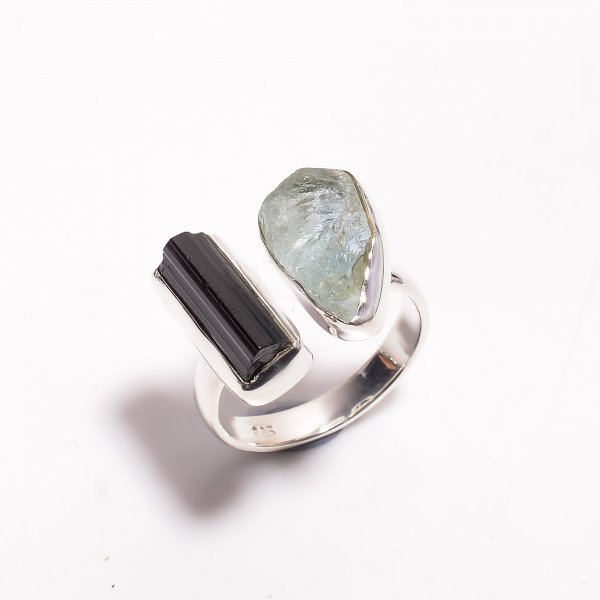 Natural Aquamarine Black Tourmaline Raw Gemstone 925 Sterling Silver Adjustable Ring