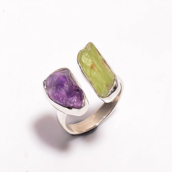Natural Amethyst Green Kyanite Raw Gemstone 925 Sterling Silver Ring Size US 7.75 Adjustable