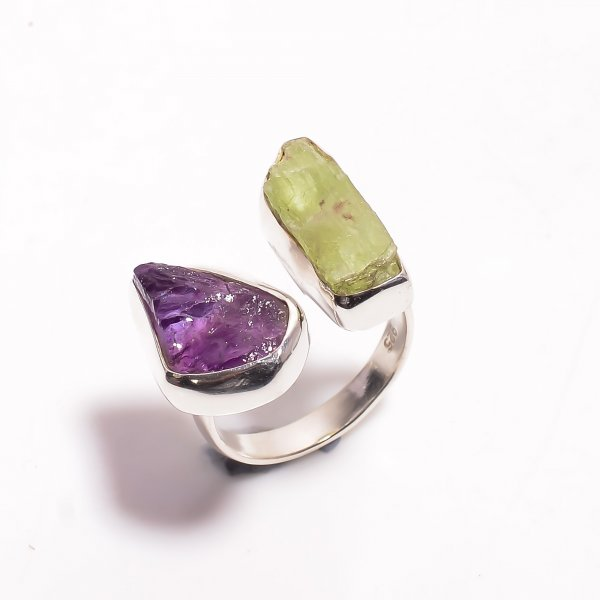 Natural Amethyst Green Kyanite Raw Gemstone 925 Sterling Silver Ring Size US 6.5 Adjustable